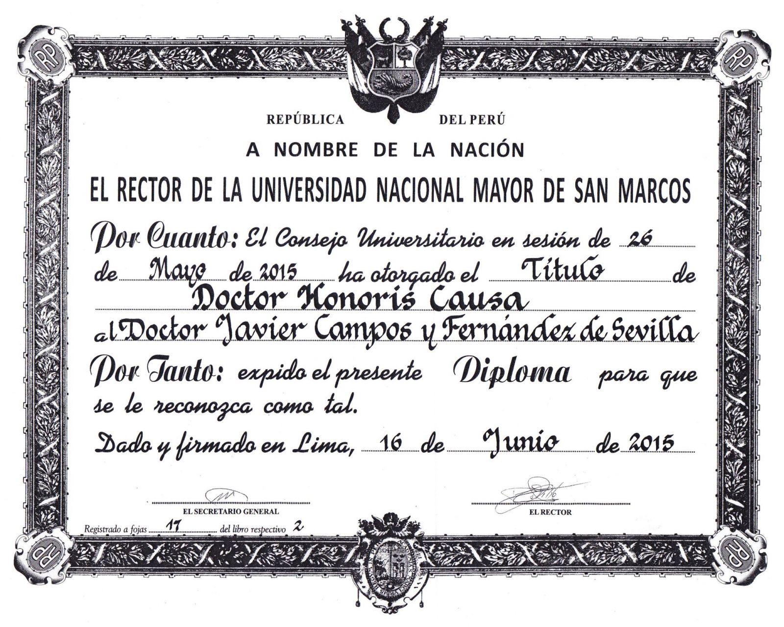 Doctorado De Lima Javier Campos Honoris Causa