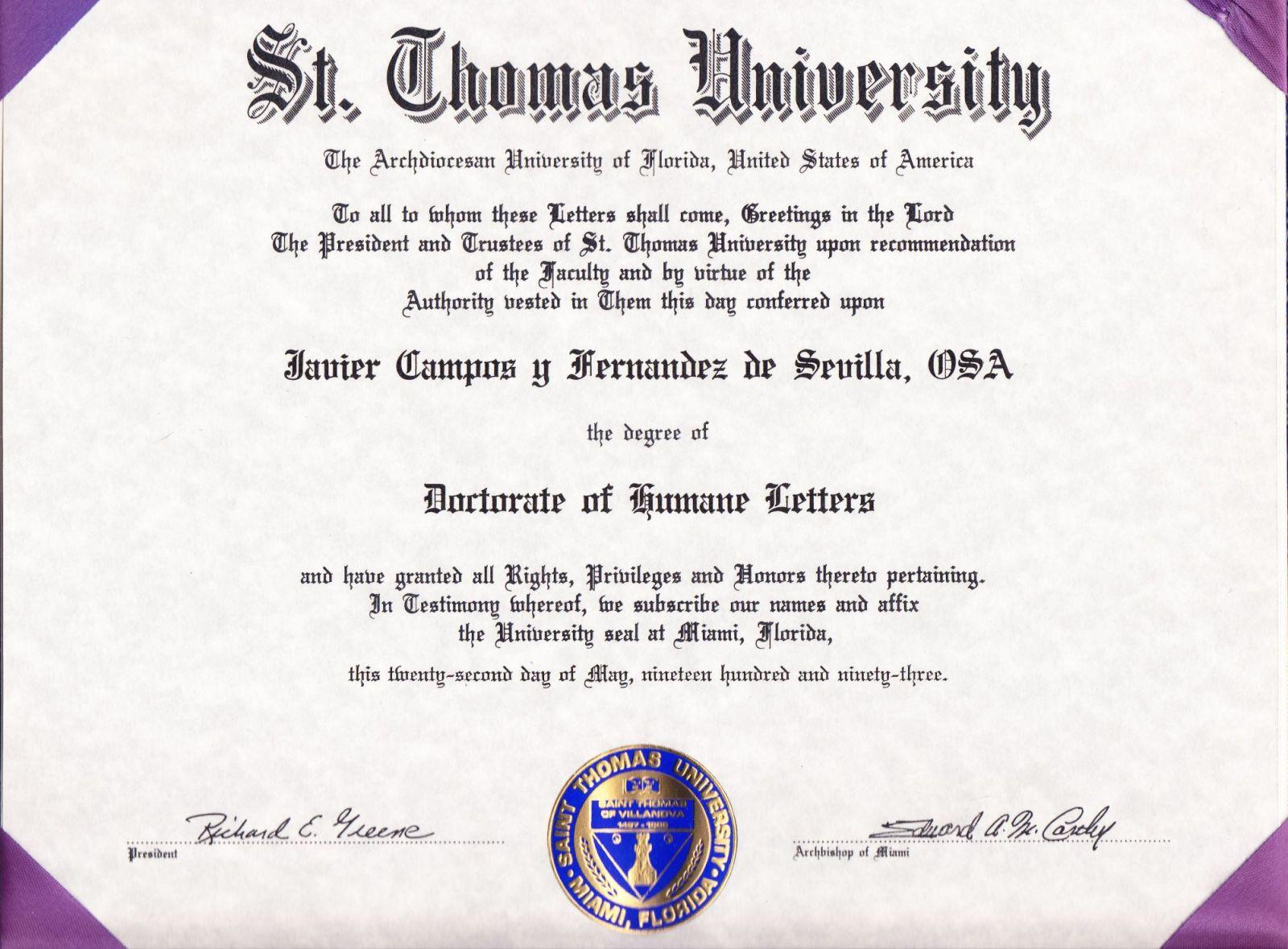 Doctorado De Miami Javier Campos St Thomas University