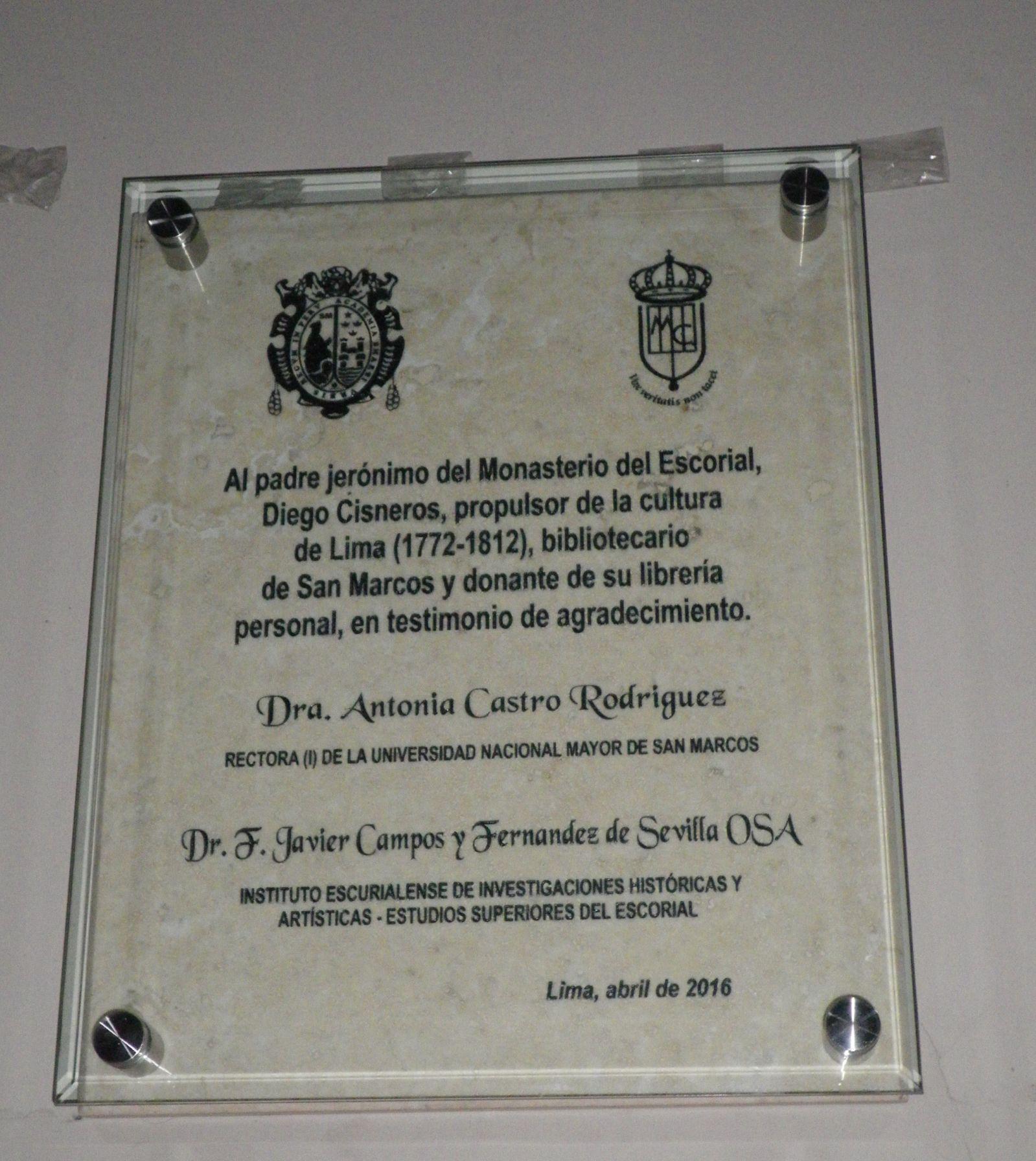 Placa Al P. Cisneros Btca. Gral Unv. San Marcos Lima